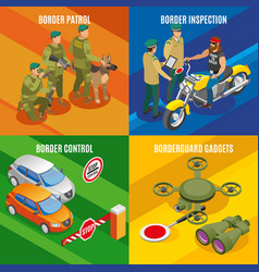 Border service isometric design concept vector