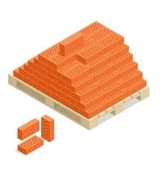 Bricks on pallet building material 3d vector