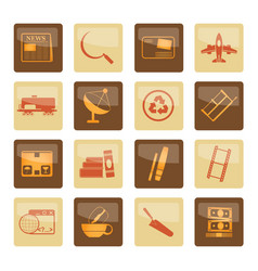 business and industry icons over brown background vector image