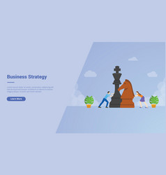 business strategy men and women play big chess vector image