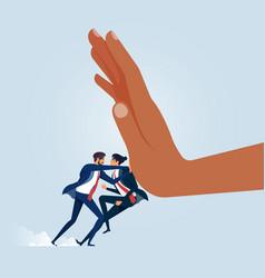 businessman pushing big hand vector image
