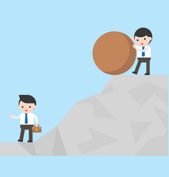 Businessman try to defeat his competitor by vector