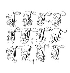 Calligraphy lettering script font t set hand vector