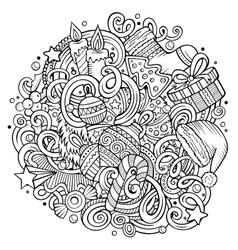 Cartoon cute doodles New Year vector image