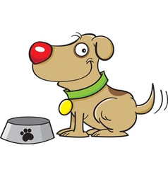 Cartoon Dog with a Dog Bowl vector image