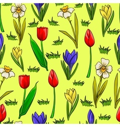 cartoon seamless pattern with spring flowers vector image