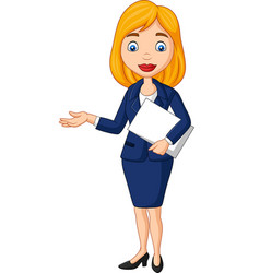 cartoon young businesswoman holding a document fil vector image