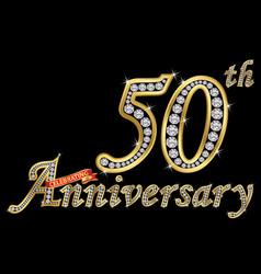 Celebrating 50th anniversary golden sign vector