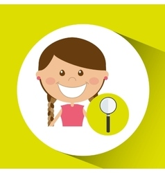 Cheerful girl study search design vector