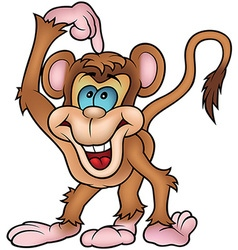 Cheerful Monkey Pointing vector image