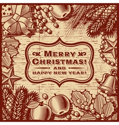 Christmas Retro Card Brown vector