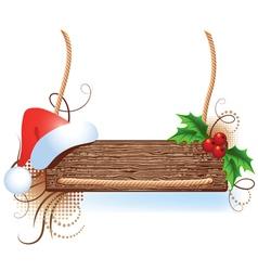christmas wooden signboard vector image