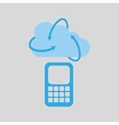 Cloud technology cellphone mobile media icon vector