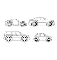Coloring book stylized cars set vector