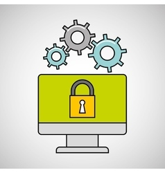computer gear secure system vector image