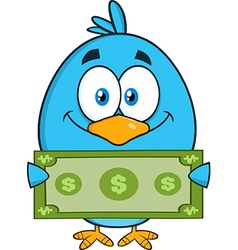 Cute Blue Bird with Money Cartoon vector image