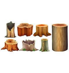 different type of tree stump vector image