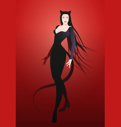 Elegant and sexy woman wearing retro style cat vector