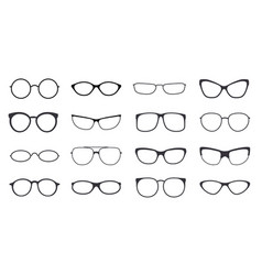 Eyeglasses frame icon on white background set vector