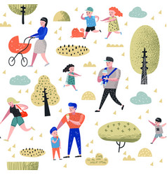 Family outdoor activity seamless pattern vector