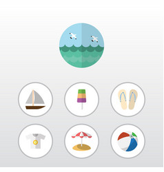 Flat icon beach set of parasol clothes yacht and vector
