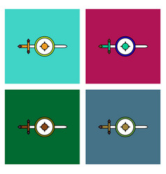 flat icon design collection sword and shield vector image