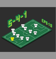 Football 5-4-1 formation with isometric field vector