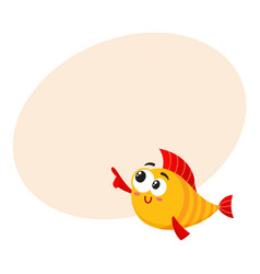 funny smiling golden yellow fish character vector image