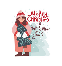 girl holding new year tree vector image