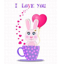 Greeting card with cute cartoon rabbit vector