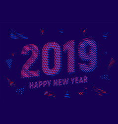 greeting card with inscription happy new year 2019 vector image