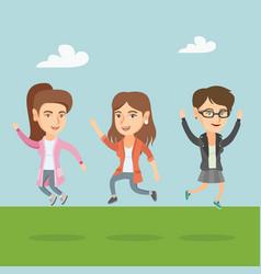 Group joyful caucasian people jumping vector