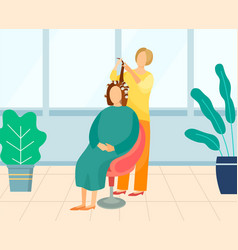 hairdresser making hairstyle for female client vector image