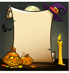 halloween banner with empty paper scroll vector image
