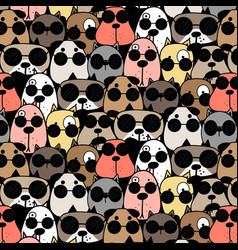 hand drawn cool dogs pattern background vector image