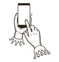 Hand holding smart phone with tap finger on the vector