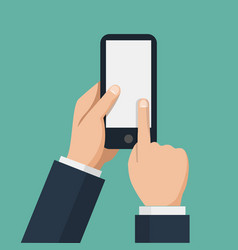 hand holds smartphone and finger touches screen vector image