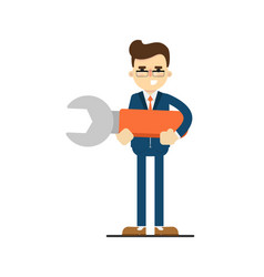 Happy businessman hold big wrench vector