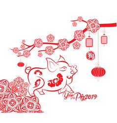 happy chinese new year 2019 card year of pig vector image