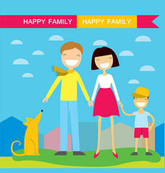 happy family members parentstheir son and a dog vector image