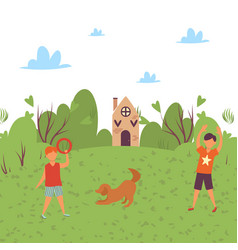 happy kids play with dog in nature countryside in vector image