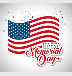 happy memorial day flag vector image