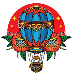 Hot air balloon traditional tattoo vector