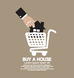 House In Shopping Cart Buy A House Concept vector