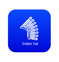 indian hat icon blue vector image