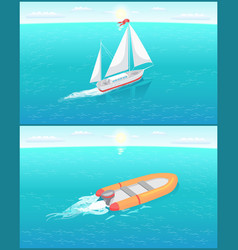 Inflatable rescue boat and ship with white canvas vector