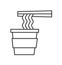 Instant noodles cup food outline icon vector