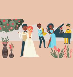 international couple wedding celebration vector image
