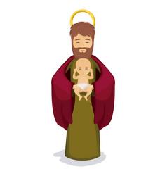 Isolated baby jesus and joseph design vector