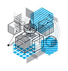 Isometric abstract background with lines and vector